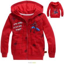 2014 Children's coat boys girls children's cartoon Spiderman Spider-Man zip hoodie jacket 2014 new kids gray and red(China (Mainland))