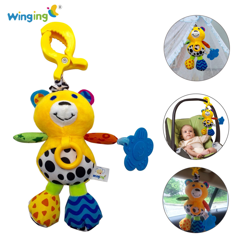 Baby Sounded Toys Bear Animals Lovely Baby Hanging Bell Toys Cute Soft Plush Crib Bed Musical Animals Toys(China (Mainland))