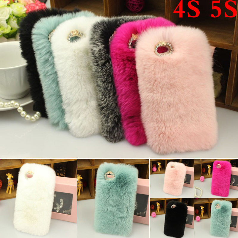 Brand New Soft Hairs Plush Phone cases for iphone 5 5S/4S Cover Rabbit Fur Hair Back fuzzy Cover Case(China (Mainland))