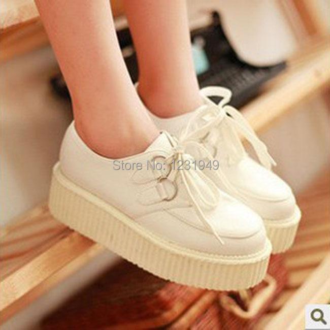 2014 New Fashion Women Creepers White&Black Youth Style Flat Platform Shoes Girls - World C&LL Store store