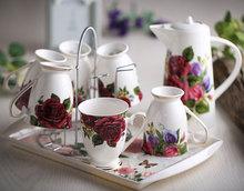 Fashion Bone China Ceramic Coffee Tea Water Cup And Pot 6 Peices Sets European High Quality