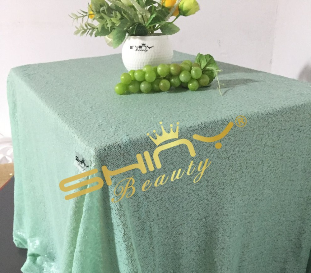 Elegant 50''x72'' Matte Mint Green Sequin Table Cloth Wholesale Table Linens Sparkly Matte Mint Green For Your Events Decor(China (Mainland))