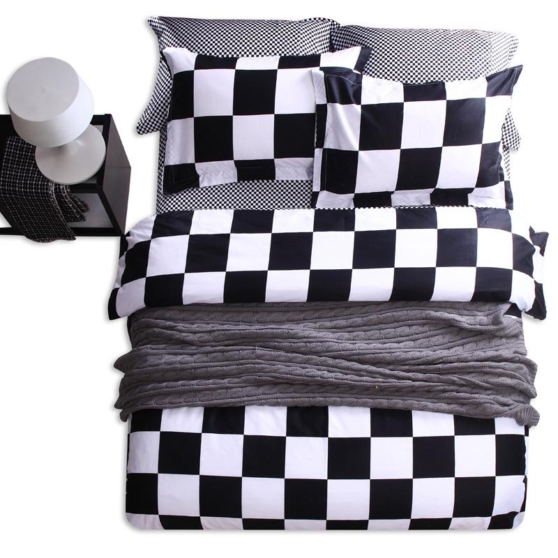 brand luxury bedding set cotton duvet quilt cover king queen size 4pcs black white bedlinen bed sheet bedclothes bedding sets(China (Mainland))