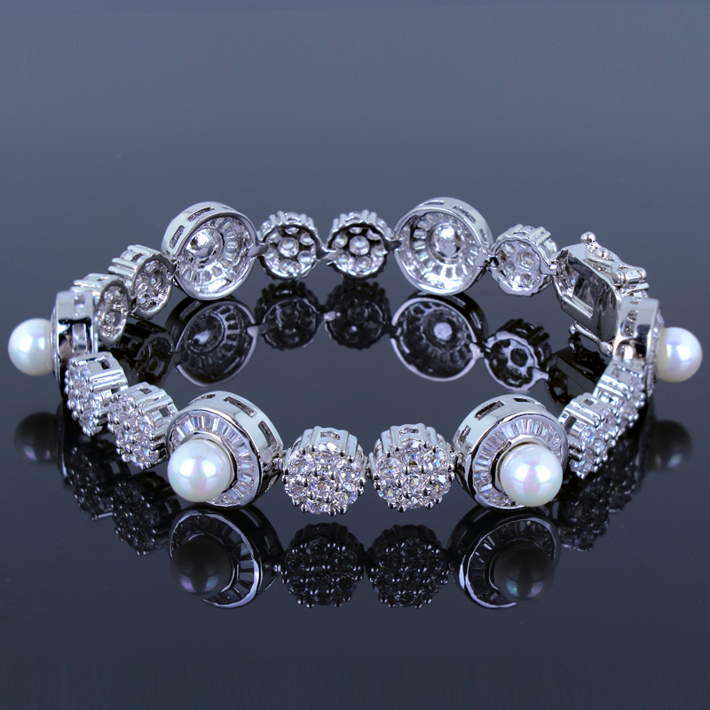 New Arrival Women Bracelet Dressed High Quality Pearl Cubic Zirconia Clear Crystal Wedding & Anniversary Gift Free Shipping(China (Mainland))
