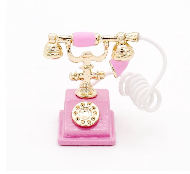 1:12 Scale Miniature Pink Old-Fashioned Phone Accessories of Vintage Dollhouse Furniture(China (Mainland))