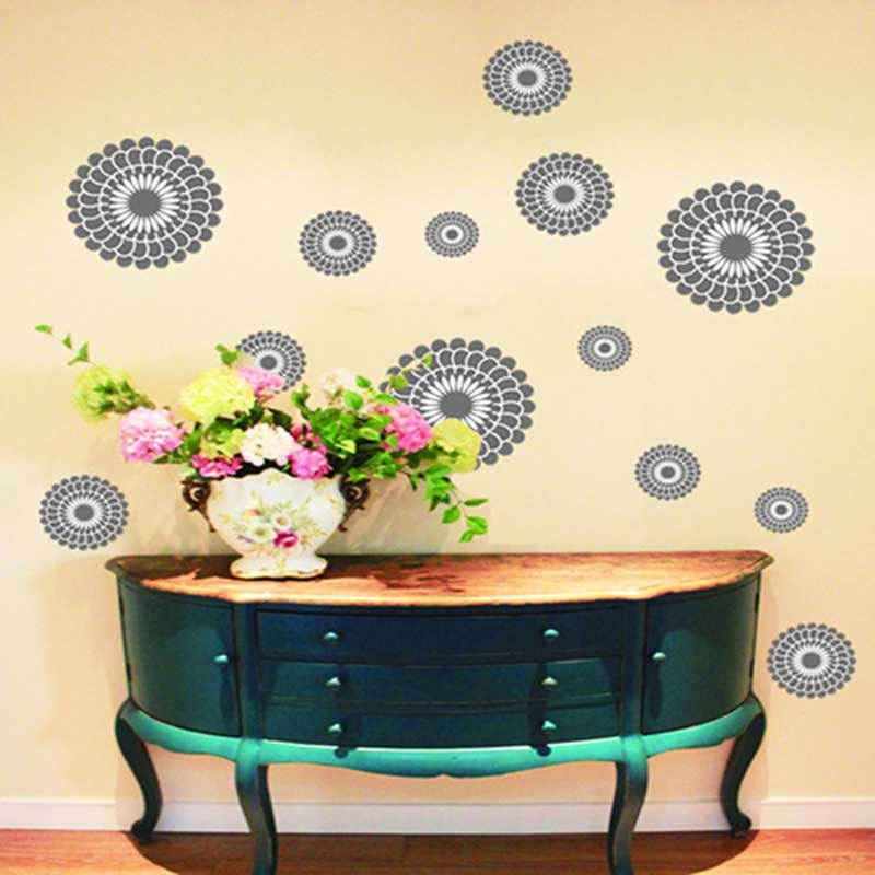 Creative Circle flower Wall Vinyl Sticker Home furniture decor Mural Removable Decal Bedroom Wallpaper(China (Mainland))