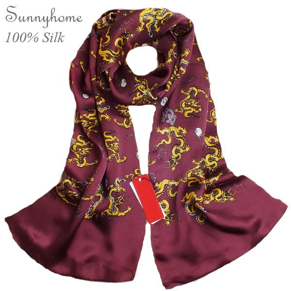 Tubular Bandana British Plaid cross Scarf Men Viscose Wine Red Dragon Silk scarves 100% Satin Silk Two Side Scarfs for men Shawl(China (Mainland))