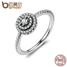 BAMOER 3 Size 925 Sterling Silver Round Shape Radiant Elegance, Clear CZ Flower Finger Rings for Women Ring Jewelry PA7178(China (Mainland))