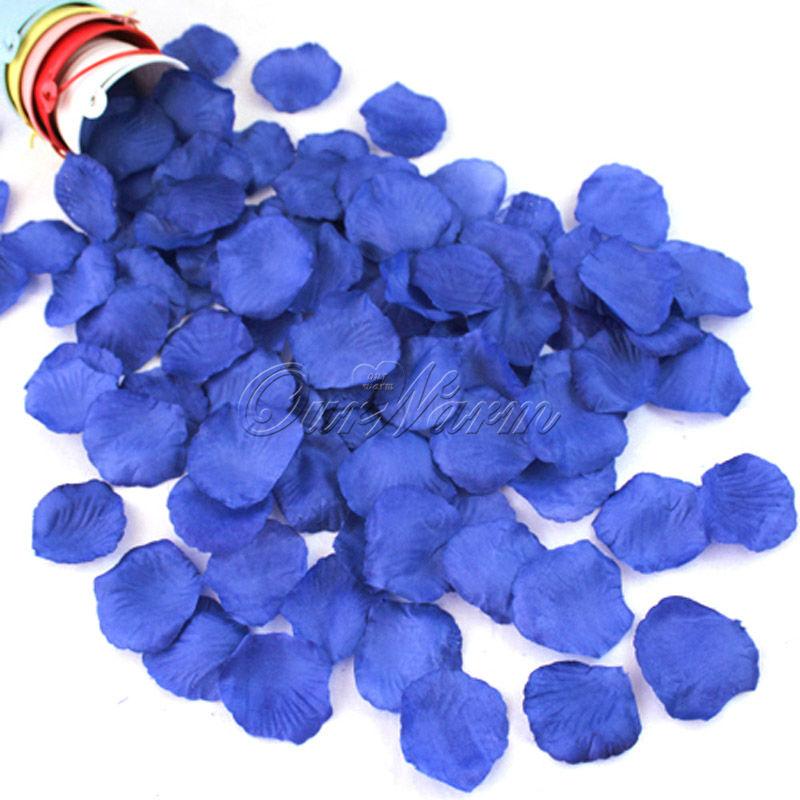 1000pcs/lot Royal Blue Silk Rose Petals Flower Wedding Party Decor Colors Celebration SuppliesNew Beautiful Crafts(China (Mainland))