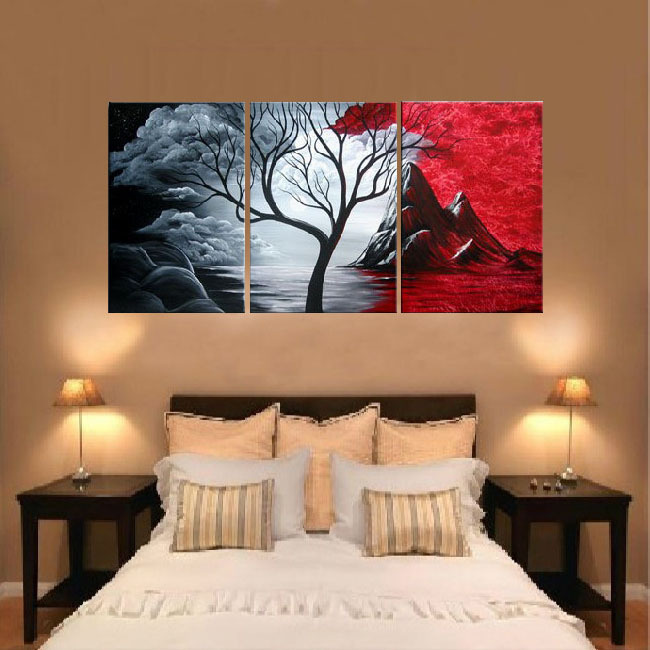 ... 3191 free shipping handpainted 3 piece canvas wall art red black white oil painting as unique ...