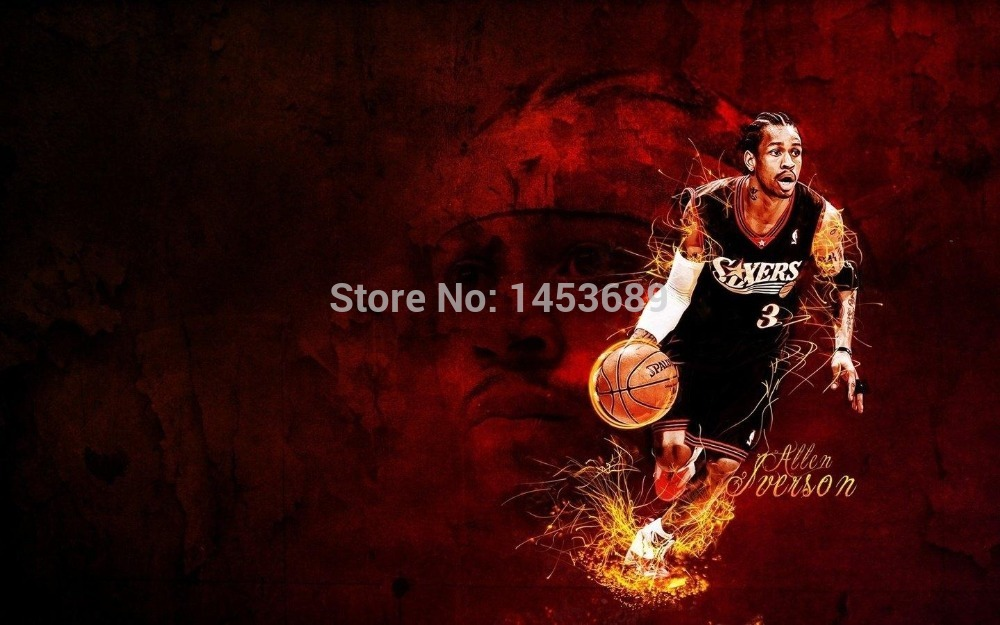 Cutome Allen Iverson Basketball Wall Paper Stylish Retro Poster Decor Best Nice Wall Sticker 51x77cm FREE SHIPPING LOYON311636(China (Mainland))