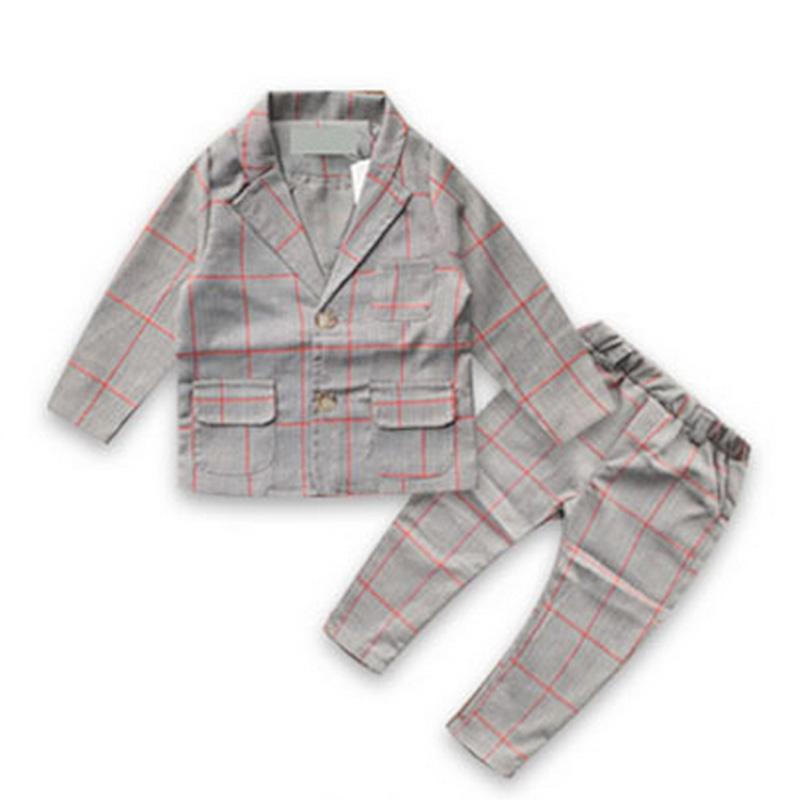 Korean Fashion Children Boys Plaid Blazers Kids Blazer + Pants Gentleman Clothes For Weddings Formal Party Clothes Blazers