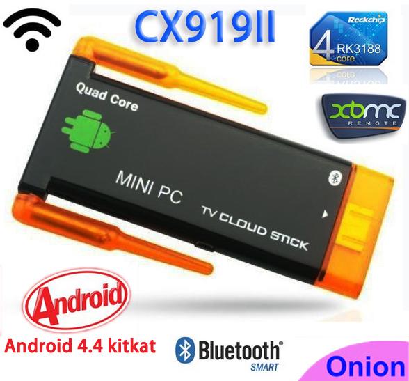 CX919 ii Android 4.4 RK3188 Quad Core 2GB/8GB Bluetooth cx919ii dongle Dual External Antenna TV stick better than cs918 tv box(China (Mainland))