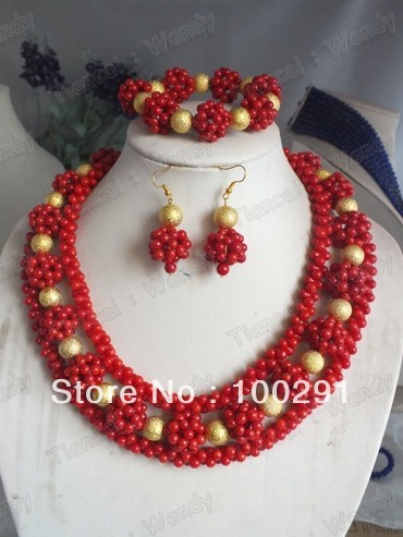 FCJ351 Fashion African Coral necklace bracelet earring Jewelry Set For Wedding Bridal