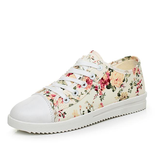 2016 Весна леди низкой холст обувь женская женский мода повседневная обувь цветок ...