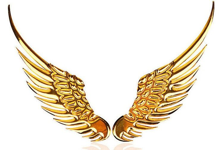 1 Pair Car Styling Fashion Metal Stickers 3D Wings Car Sticker Car Motorcycle Accessories Gold/silver CT-4000