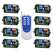 433mhz rf 1 transmitter and 8 receiver 220v with code,1KM Long Distance Range RF Switch Customizable