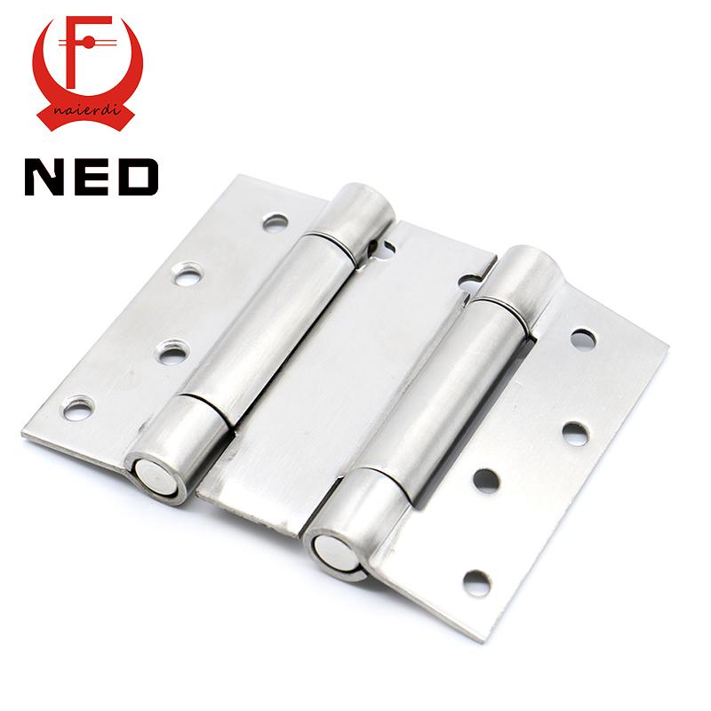 2PCS NED-5101 4 Inch Double Action Spring Door Hinge Stainless Steel Rebound Hinge For Cafe Swing Western Hidden Door Hardware(China (Mainland))
