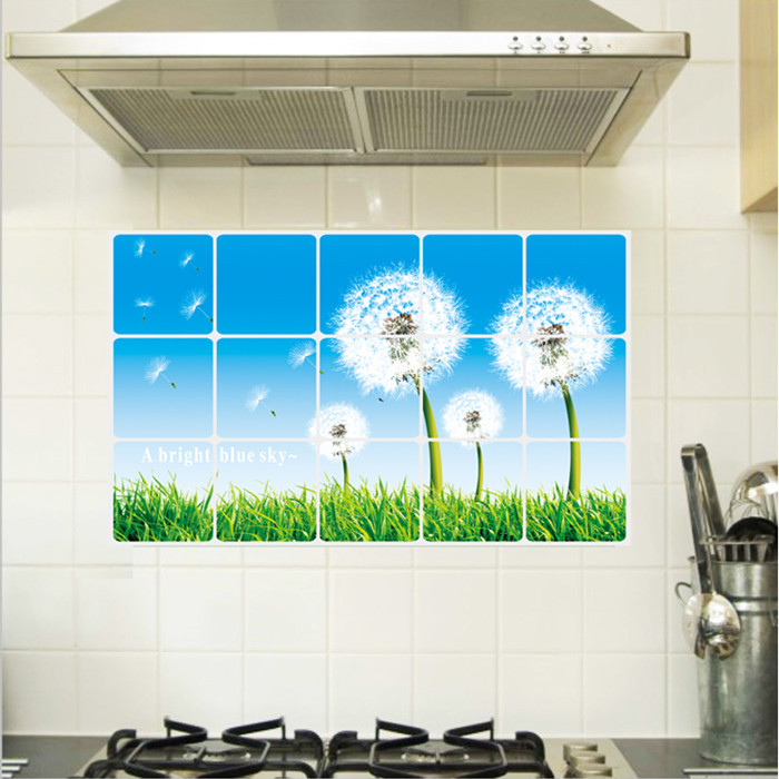 AY3004 Hotel Restaurant kitchen wall stickers Home Furnishing dandelion oil and water proof removable kitchen wall stickers(China (Mainland))