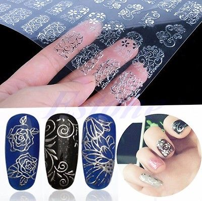 108PCS 3D Silver Decal Stickers Nail Art Tip DIY Decoration stamping Manicure SL<br><br>Aliexpress
