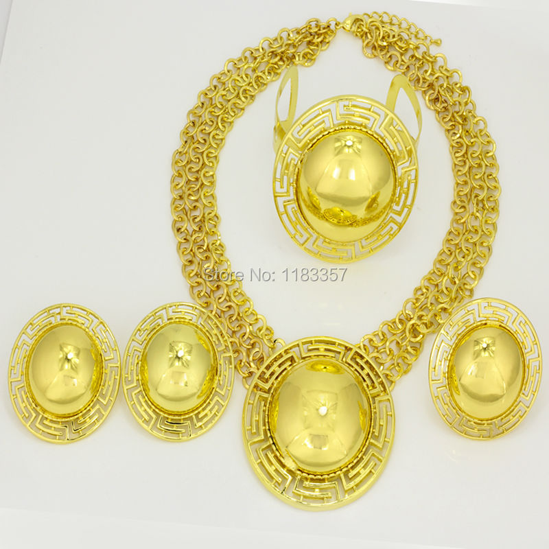 2015 Dubai African 24K gold plated Vintage Jewelry Mysterious Ethiopia Necklace Bangle Earrings&Ring  jewelry sets