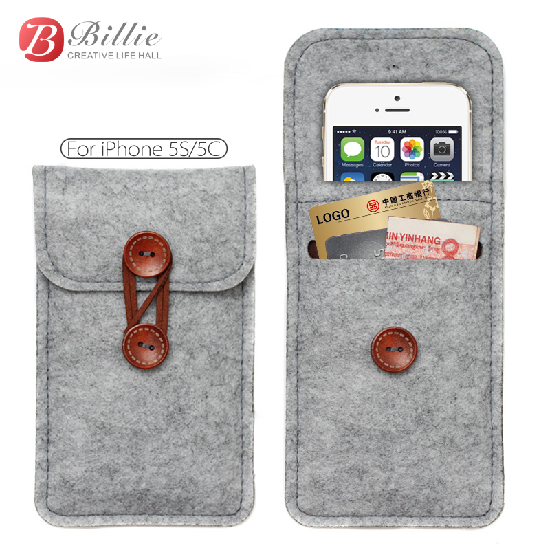 Hot Wallet Case For apple iphone 5 5s 5G pouch,Wool Felt protective sleeve bag For iPhone5c Bags Cover(China (Mainland))