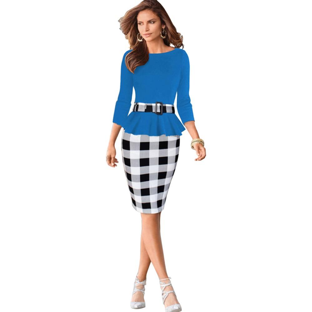 Women s Fashion Elegant Belted font b Tartan b font Business OL Casual Party Tunic Bodycon
