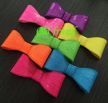 "Neon Color 5""  Sequin Bows With Clips Hair Bows Clips 20pcs/Lot 7color IN STOCK Free Shipping"