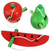 Legno educazione del bambino giocattoli di frutta filo iniziare il lavoro di apprendimento di vendita dei capretti dei bambini morso variopinto developmental worm mangiare plaything(China (Mainland))