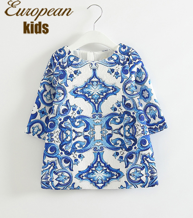 Girl Dress 2015 New Brand Cinderella Dress Dobby Floral Print Kids Dresses for Girls Europe Style Baby Girl Clothes Vestidos(China (Mainland))