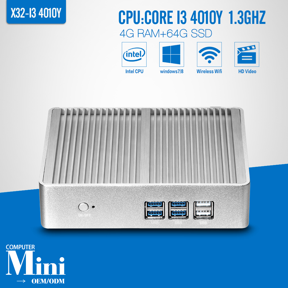 Mini PC Core I3 4010Y 4G RAM 64G SSD WIFI Ubuntu Linux 12.04 Small Computer Case Support Hd Video Thin Client(China (Mainland))