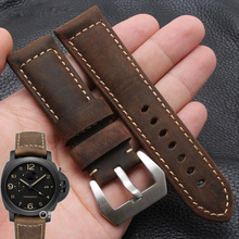 Buy Men's mechanical watch strap 22 24MM brown black buckle strap LUMINOR 1950 GMT RADIOMIR 1940 watch leather strap +TOOL for $18.20 in AliExpress store