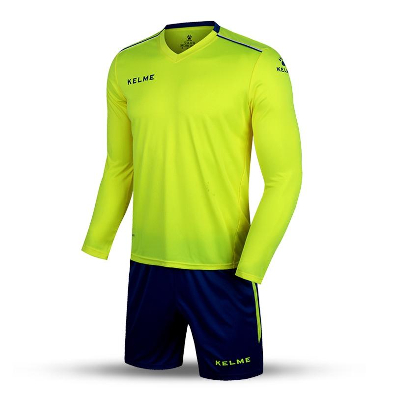Kelme K16Z2004L Men Autumn Long Sleeve Thin Training Light Board Team Football Jersey Suit Yellow Navy Wholesale(China (Mainland))