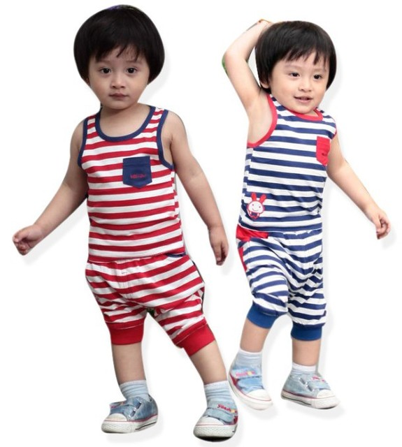 Wholesale Baby Girl and Baby Boy Summer Clothes Wear New Striped Waistcoat Sets 2pcs Set Sleeveless Garment +Pants Free Shipping