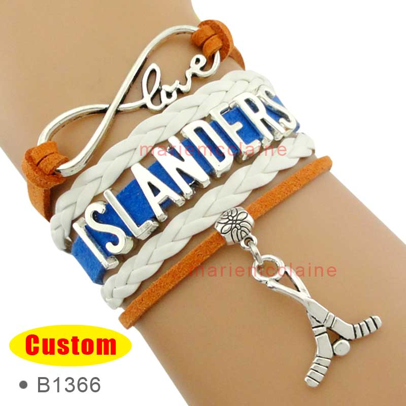 (10 Pieces/Lot) Infinity Love New York Hockey Player Bracelet Islanders Ice Hockey Bracelet Royal Blue Orange Leather Women's(China (Mainland))