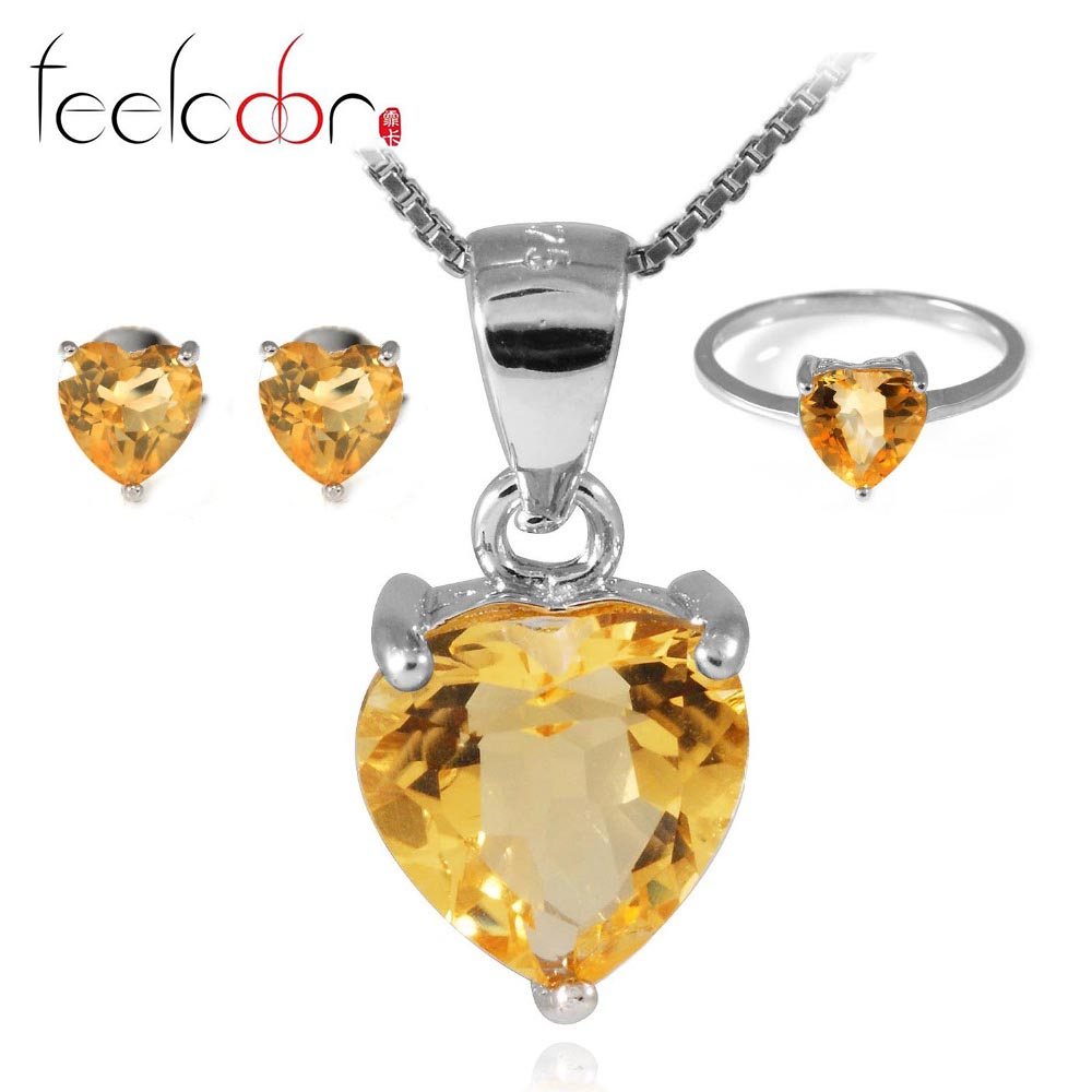 4.1 ct Natrual Citrine Ring Earring Pendant Necklace Jewelry Sets 925 Solid Sterling Silver Heart Shape Gemstone Women Gift<br><br>Aliexpress