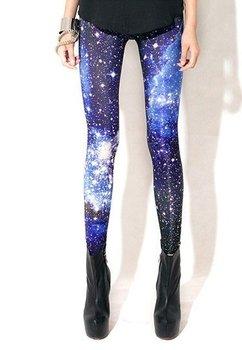 Женщины сексуальный Universe Galaxy синий печать леггинсы брюки эластичность пространство ...