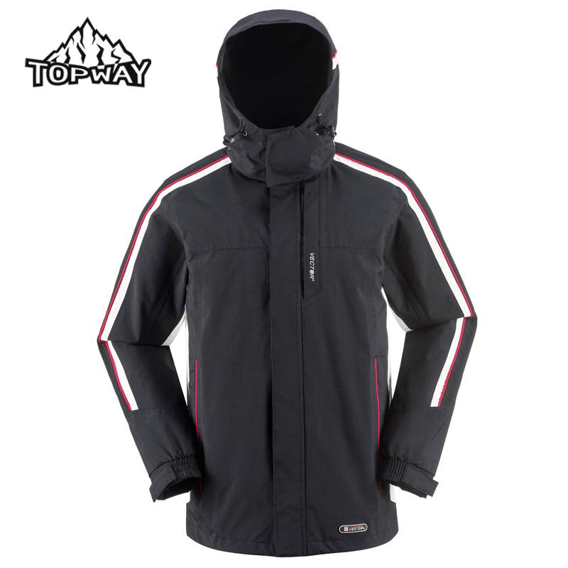 Фотография High Quality Wear Resistant Black Waterproof Coat Windbreaker Hooded Chaquetas Hombre Hiking Camping Outdoor Sport Jacket Men