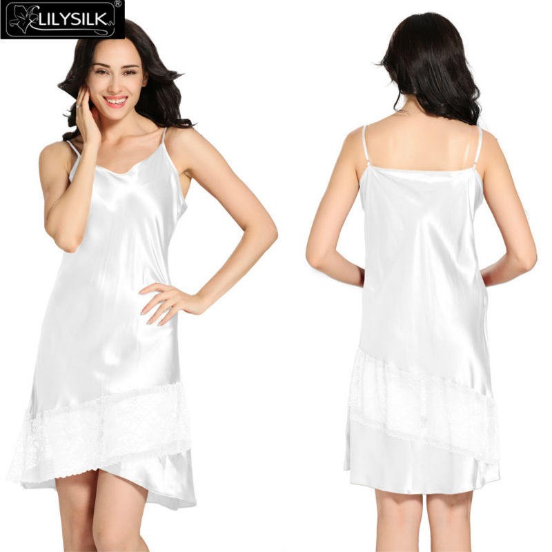 Lilysilk Women Nightgown Summer Pure Chinese Silk Pijamas Mini Short Sexy Lace 22 Momme Luxurious Satin Bride For Sleep Sale(China (Mainland))