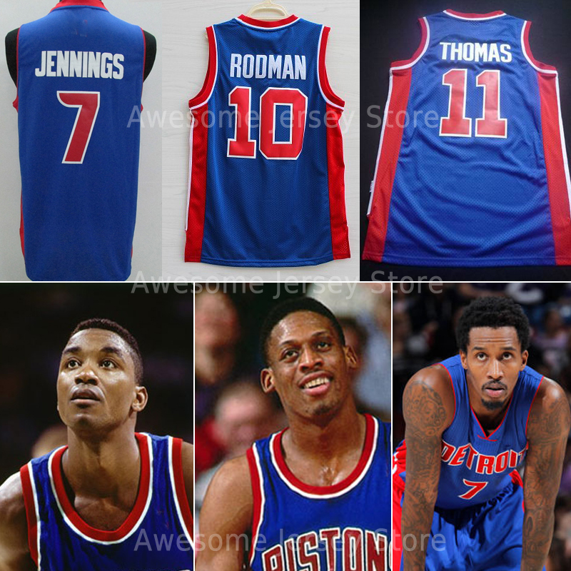 free shipping top quality detroit dennis rodman 10 isiah thomas 11 brandon jennings 7 blue white Embroidery logo size:s-xxl(China (Mainland))