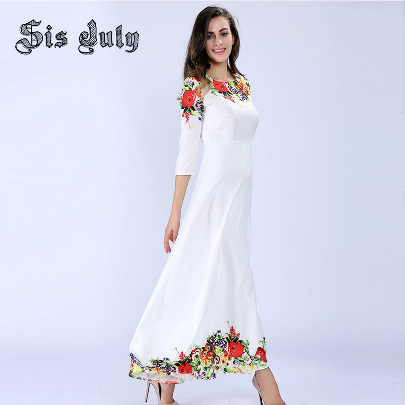 Sisjuly Women Maxi Dresses Elegant Round neck 3/4 Sleeve Casual White Floral Print Long Evening Party Dress(China (Mainland))