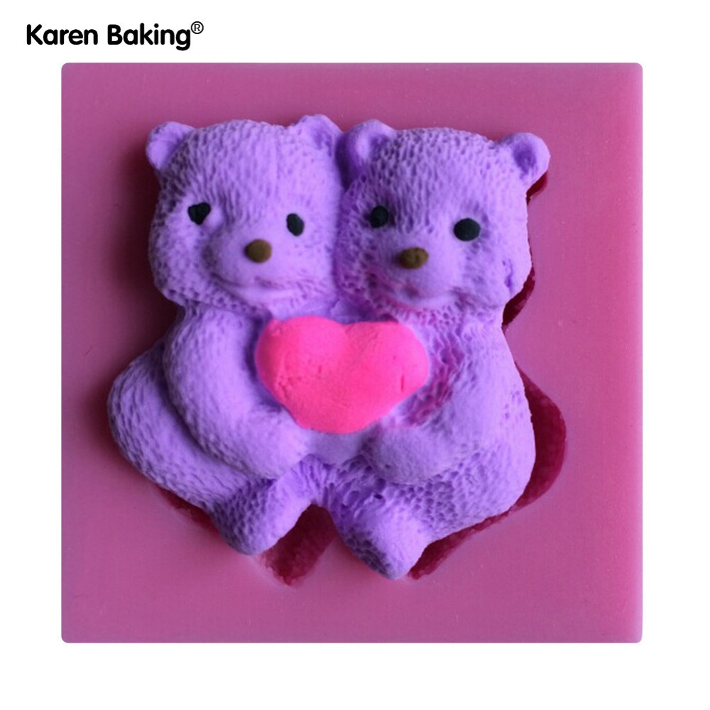 Two Pieces Bear Hug The Love Shape Silicone 3D Mold Cookware Dining Bar Non-Stick Cake Decorating Fondant Mould Tools C222(China (Mainland))