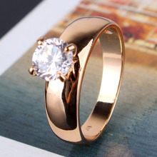 New 2014 18K Gold Plated Round Cut White Swiss Zircon CZ Band Engagement Ring For Women Wholesale Free Shipping (GULICX R083)