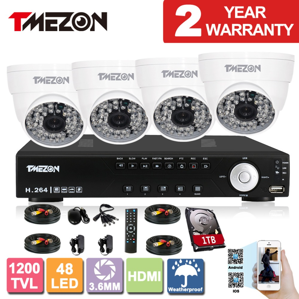 Tmezon 4CH HDMI DVR Recorder 4*1200TVL High Definition 48leds Day Night Vision CCTV Security System with 1TB(China (Mainland))