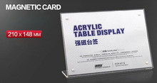 A5 L strong magnetic advertising tag sign card display stand Acrylic table Desk menu price Label Holder Stand(China (Mainland))