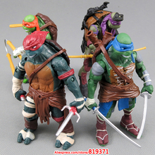 2014 NEW HOT 4 pieces/sets 12cm Anime Cartoon TMNT Teenage Mutant Ninja Turtles PVC Action Figure Toys Dolls boys Gift Christmas