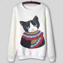 Harajuku Autumn 2015 Women Sweatshirt Cartoon Cat Print Casual Pullovers Moleton Feminino 3D Print SportSuit Sudaderas Mujer(China (Mainland))