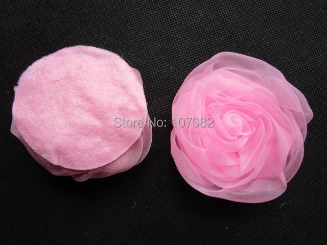 """50 stuks 2,85"""" met de hand gemaakte bloem ambachtelijke decoratieve organza bloemen bruiloft feest haar sieraden bloemen en cadeau verpakking, roze kleur(China (Mainland))"""