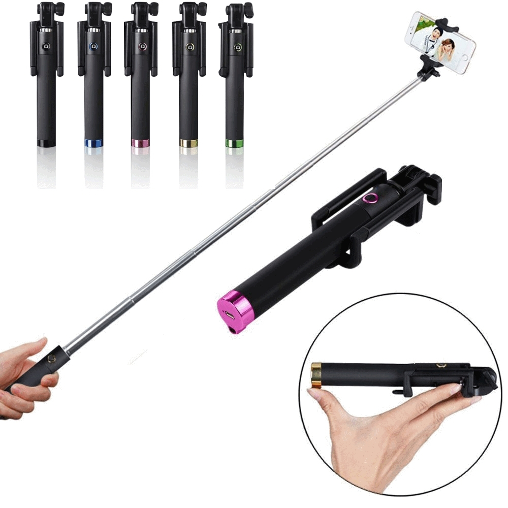 Гаджет  Luxury Mini Wireless Selfie Stick Handheld Monopod Built-in Bluetooth Shutter Extendable with Fold Holder For Smartphone None Бытовая электроника