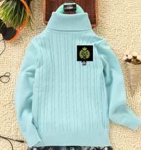 아동 스웨터 남성 아동 스웨터 여성 아동 탄성 솔리드 컬러 셔츠 아동 의류 터틀넥 100% 코튼 기본 화이트(China)
